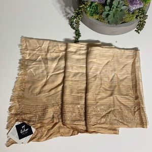 NWT Gold Ombré Sequin Fray Edge Neck Scarf Shawl